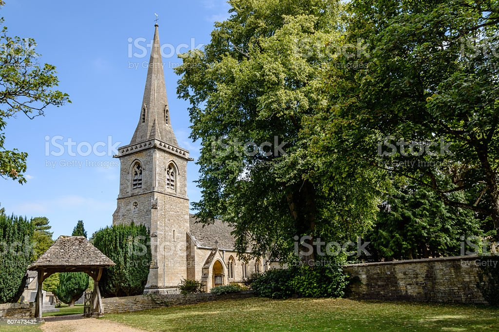 Church in the Cotswolds stock photo