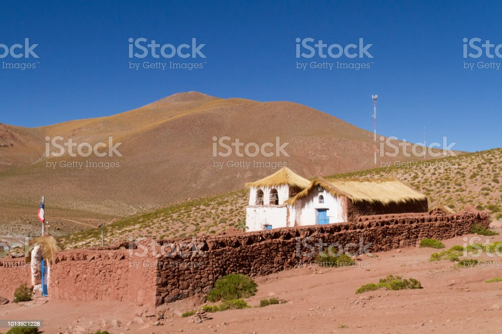 Church in the desert near San Pedro de Atacama. stock photo