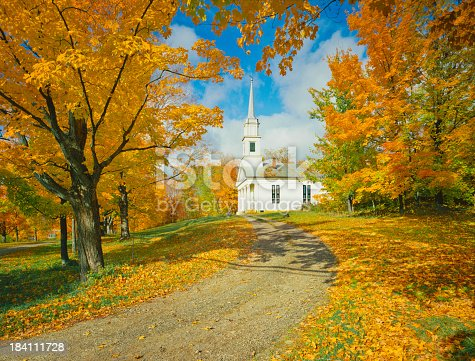 Autumn Sugar Maples And Country Church, Vermont
