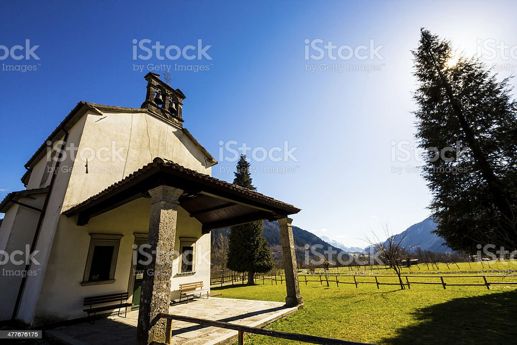 church in the meadows of Alps royalty-free stock photo