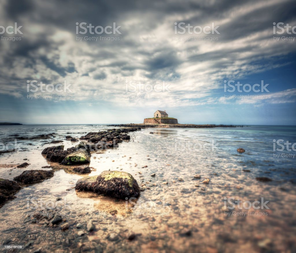 Church in the Sea, Anglesey stock photo