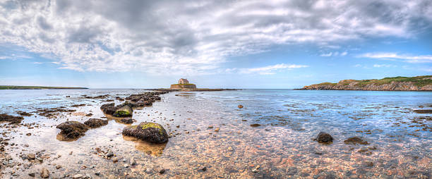 Church in the Sea Panorama, Anglesey stock photo