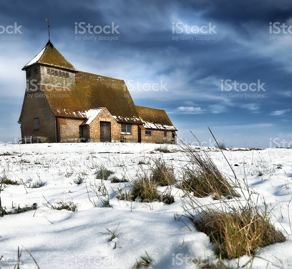 Church in the snow stock photo