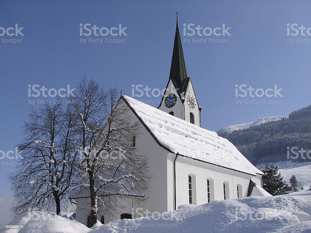 church in the snow royalty-free stock photo