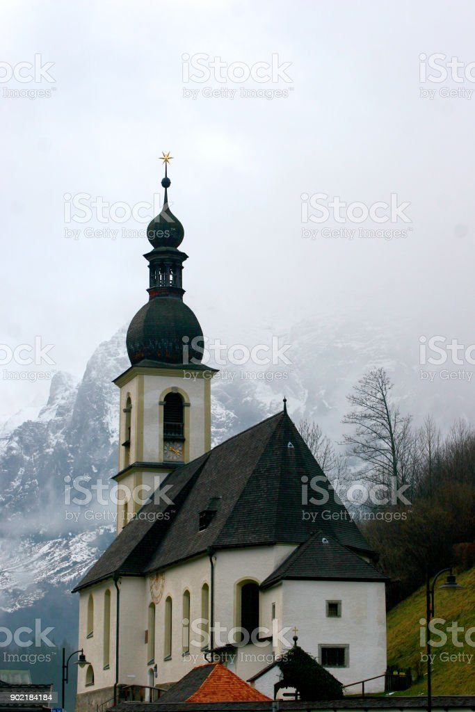 Church in the village stock photo