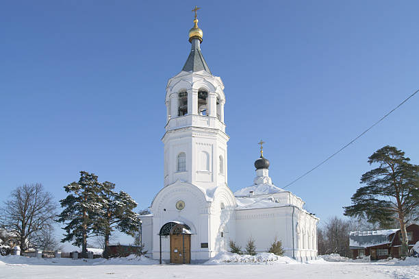 Church in the village Rozhdestvenno stock photo
