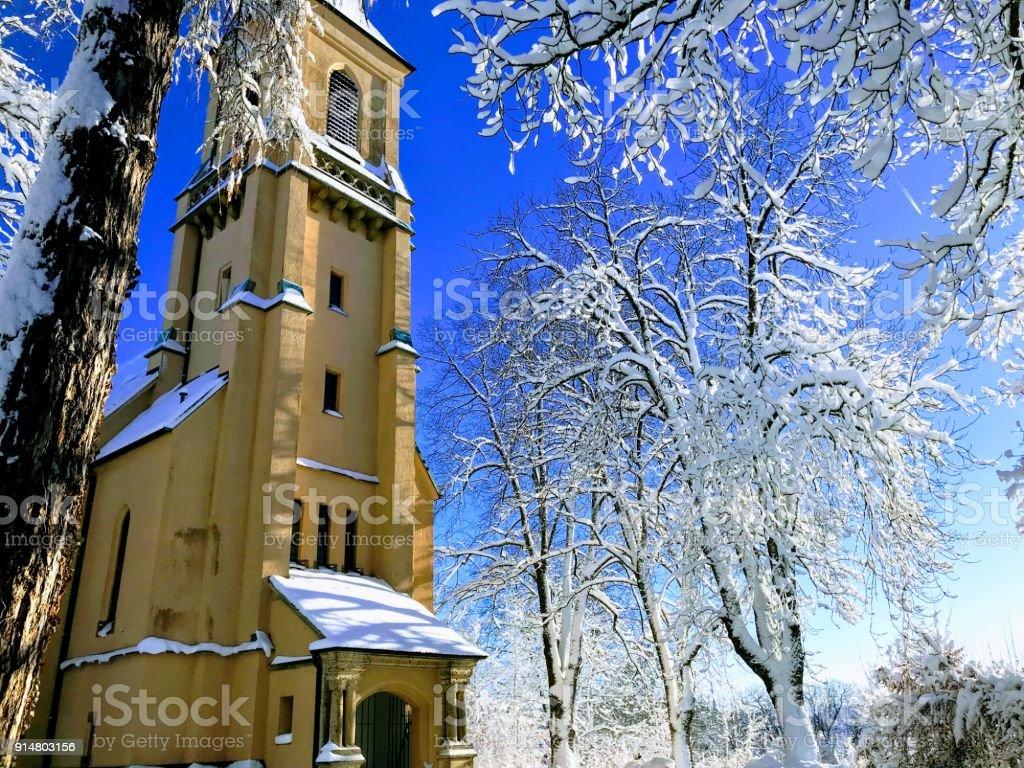 Church in the winter stock photo