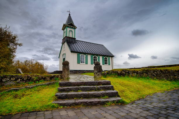 church in thingvellir national park in iceland - miniature wunderland stock-fotos und bilder