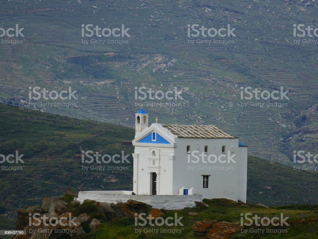 Church in Tinos island, Greece stock photo
