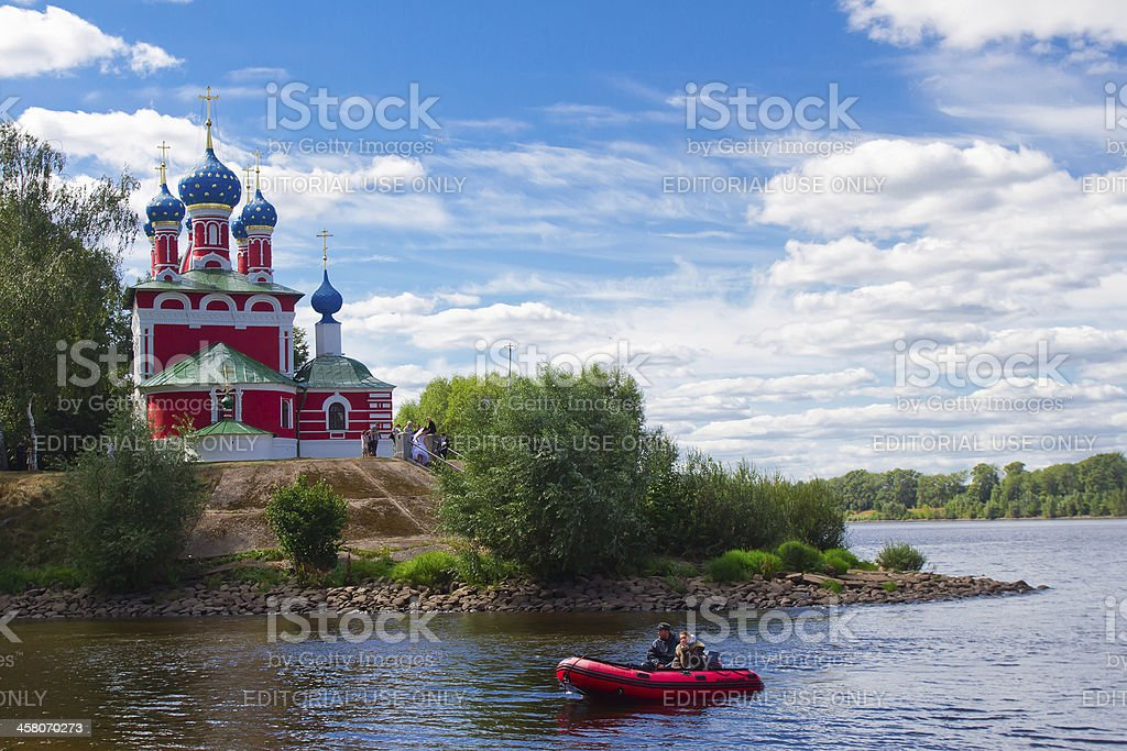 Church in Uglich town stock photo