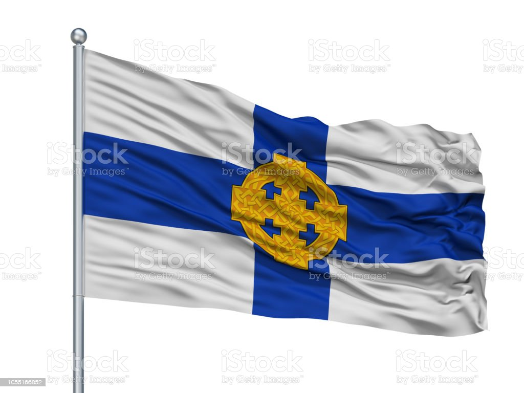 Church In Wales Flag On Flagpole, Isolated On White stock photo