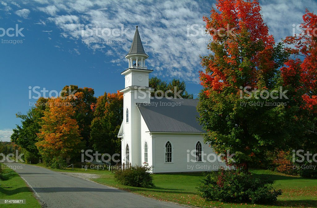 Church in Way's Mills, Quebec stock photo