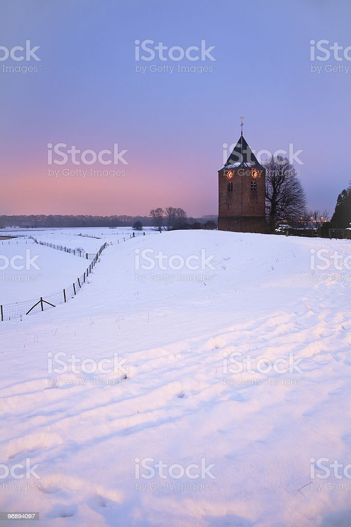 Church in Winter Scenic royalty-free stock photo