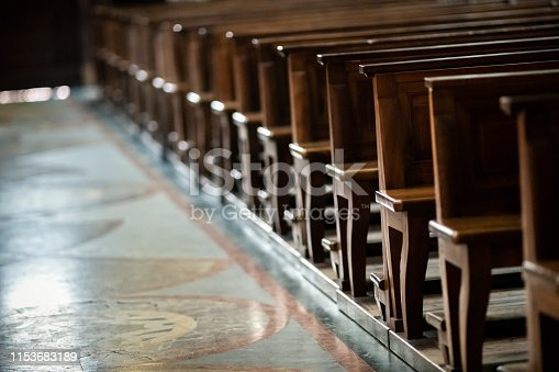Church indoors, benches