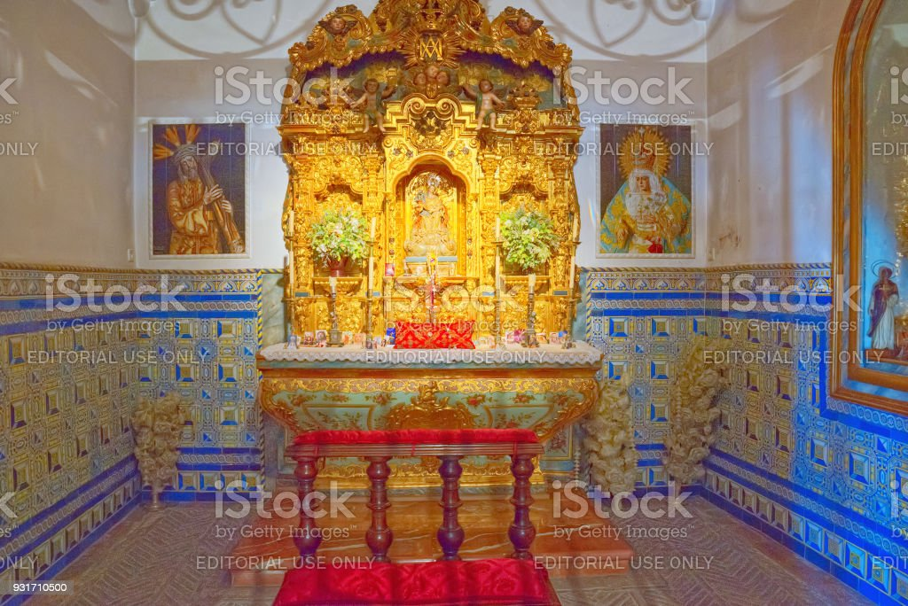 Church inside Bullfighting Museum Royal Maestranza of Cavalry in Seville. Spain. stock photo