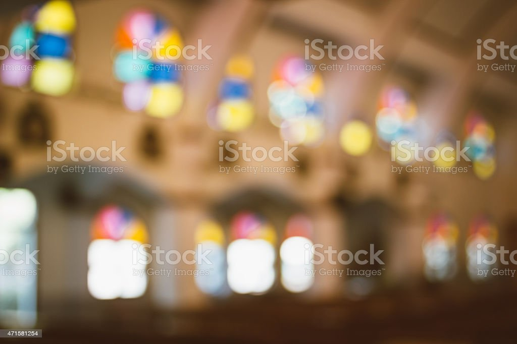 church interior blur abstract stock photo