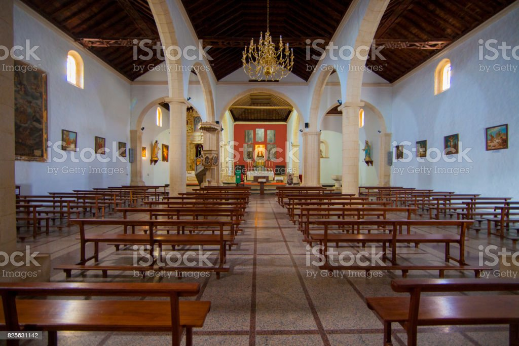 Church interior in Fuerteventura - La Oliva stock photo