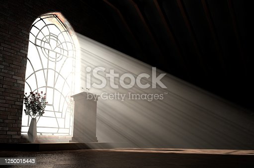 A dark church interior lit by suns rays penetrating through a glass window in the pattern of a crucifix shining on a speech pulpit - 3D render