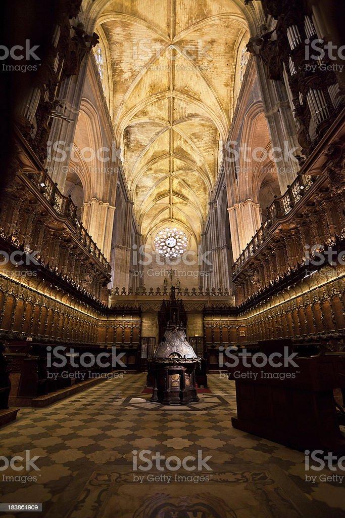Church Interior, Sevilla Cathedral, Spain royalty-free stock photo