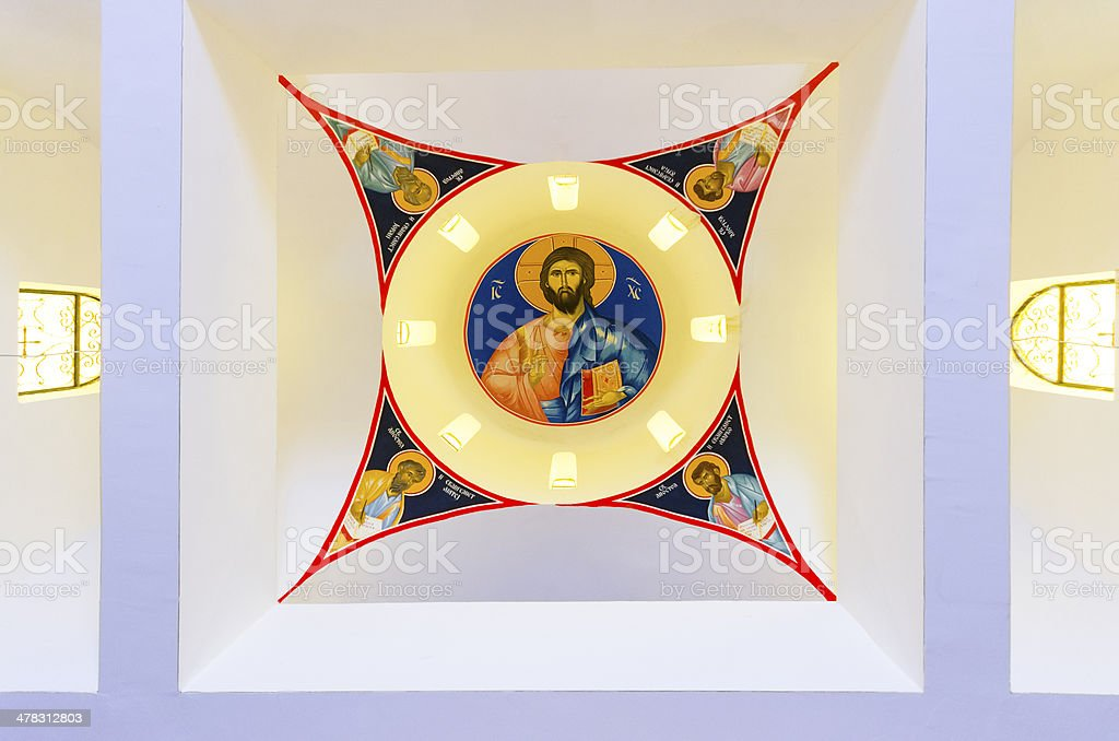 Church interior with Jesus Christ paint on the ceiling stock photo