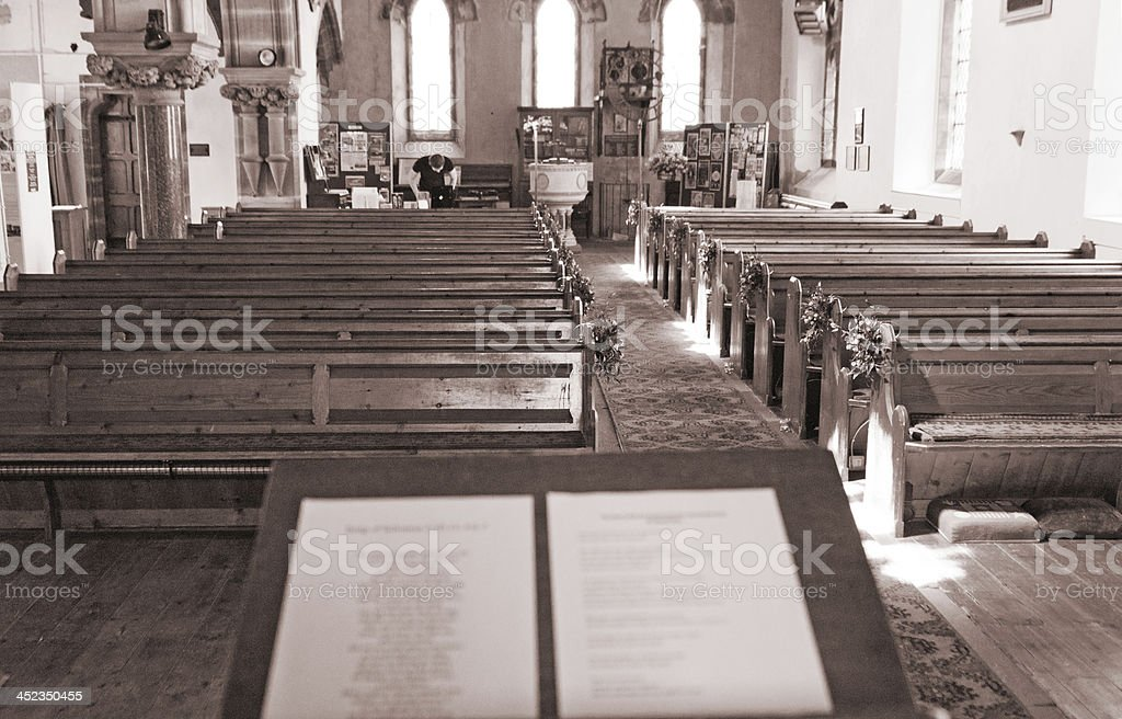 Church laid out ready for a wedding royalty-free stock photo