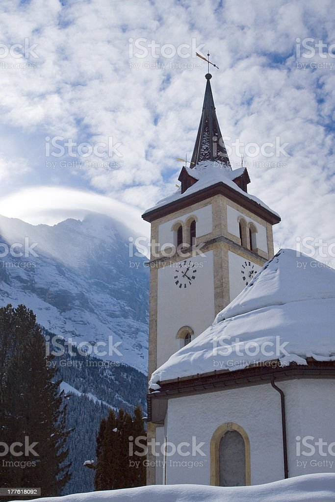 Church near Grindelwald ski area. Swiss alps at winter royalty-free stock photo
