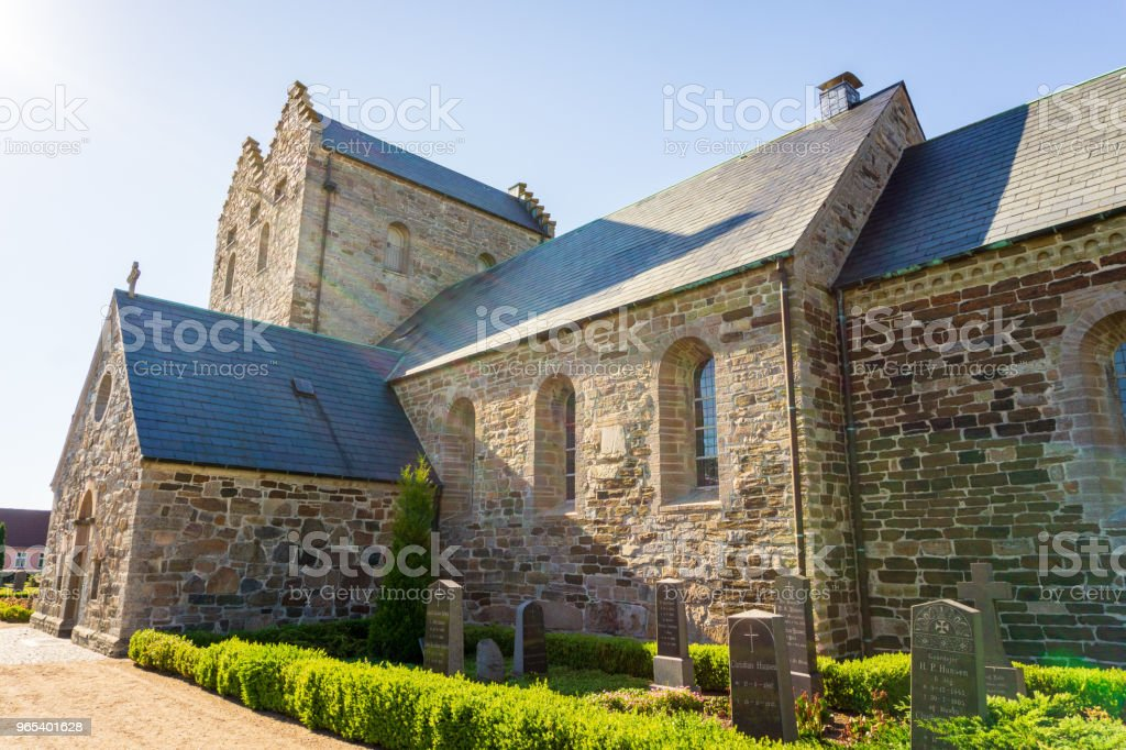 Church of Aakirkeby, Aa Kirke, Bornholm, Denmark on a day in summer royalty-free stock photo