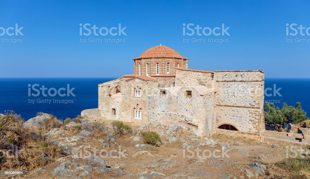 Church of Agia Sofia in Monemvasia, Peloponnese, Greece. - Royalty-free Aegean Sea Stock Photo