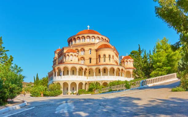 Church of Agios Nektarios stock photo