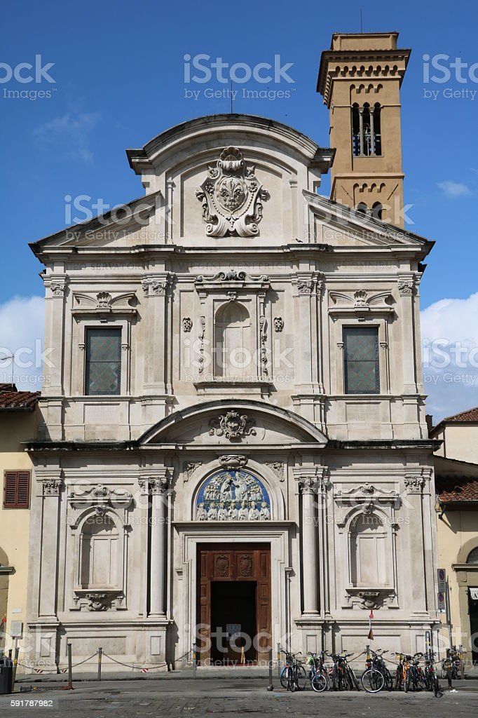 Church of all Saints at Piazza Ognissanti in Florence Italy stock photo