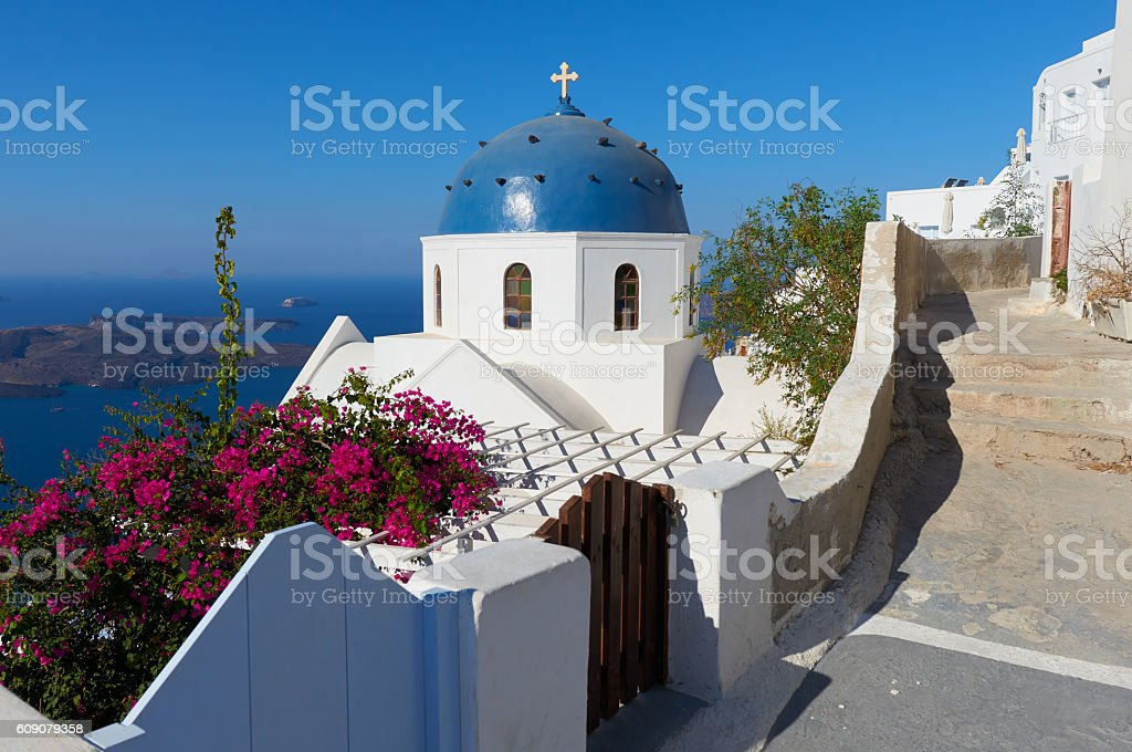 Church of Anastaseos , Imerovigli , Santorini stock photo