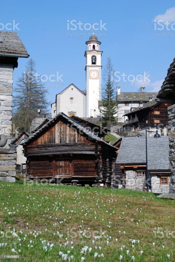 church of Bosco Gurin villages stock photo