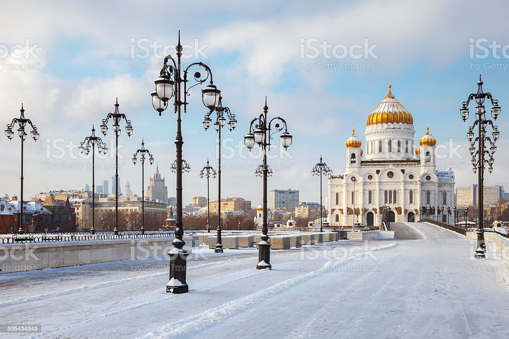 Church of Christ the Savior in Moscow at winter stock photo