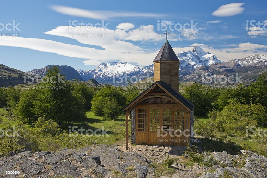 Church of Estancia Cristina in Los Glaciares National Park stock photo