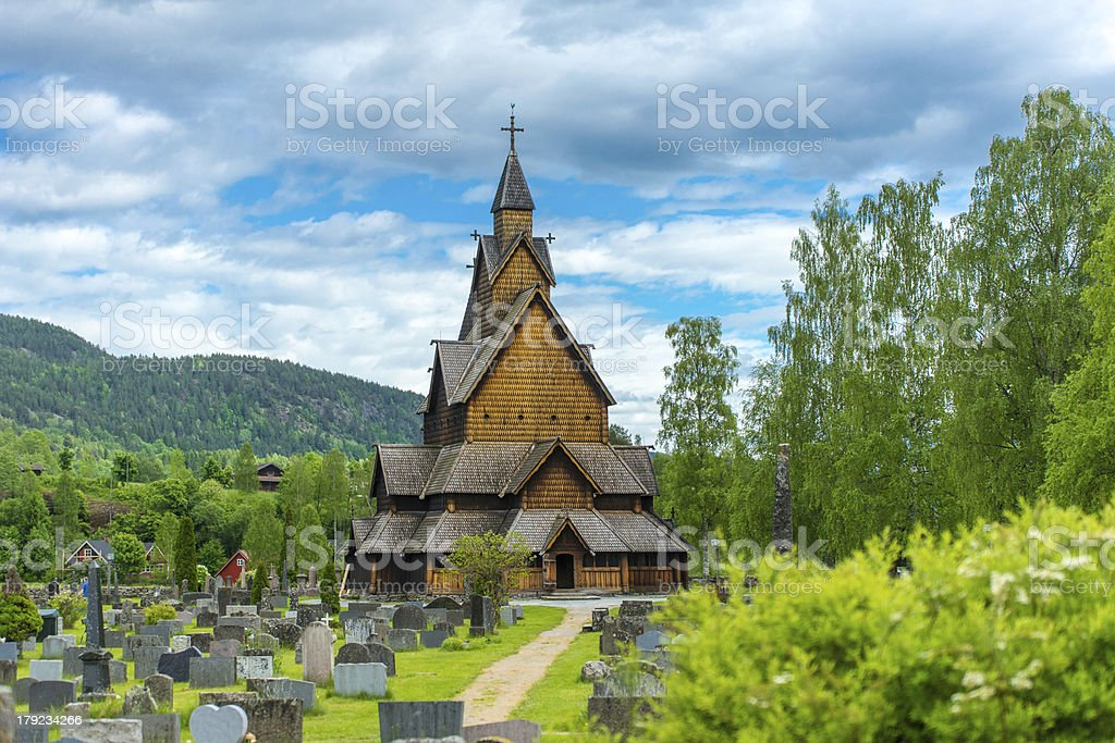 Church of Heddal in Norway stock photo