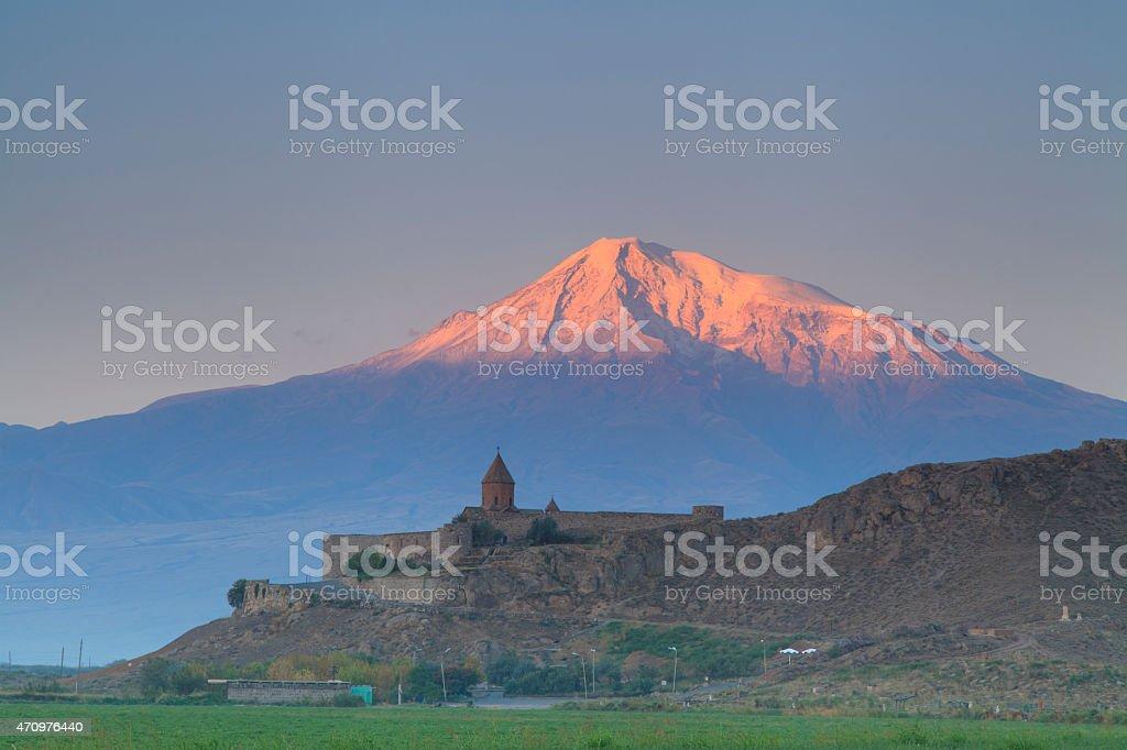 Church of Khor Virap on the background of Mount Ararat stock photo