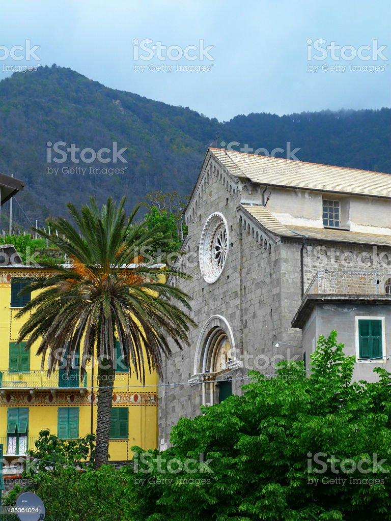 Church of Manarola, Cinque Terre, italy stock photo