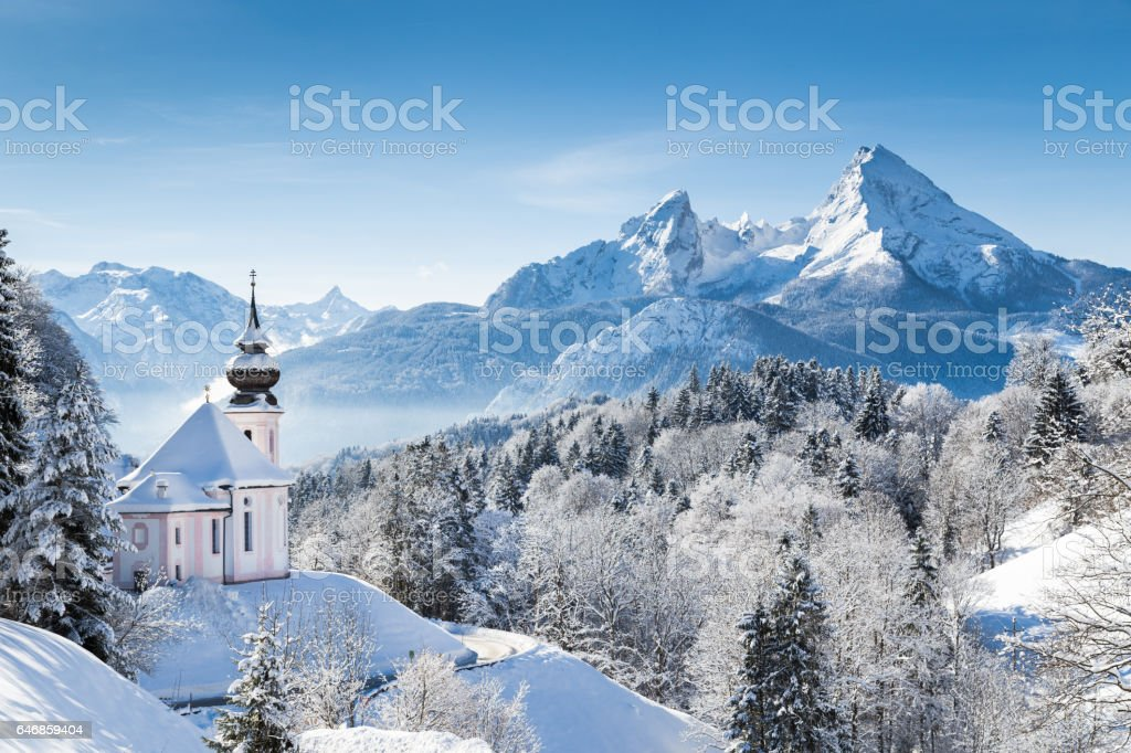 Church of Maria Gern with Watzmann in winter, Berchtesgadener Land, Bavaria, Germany stock photo