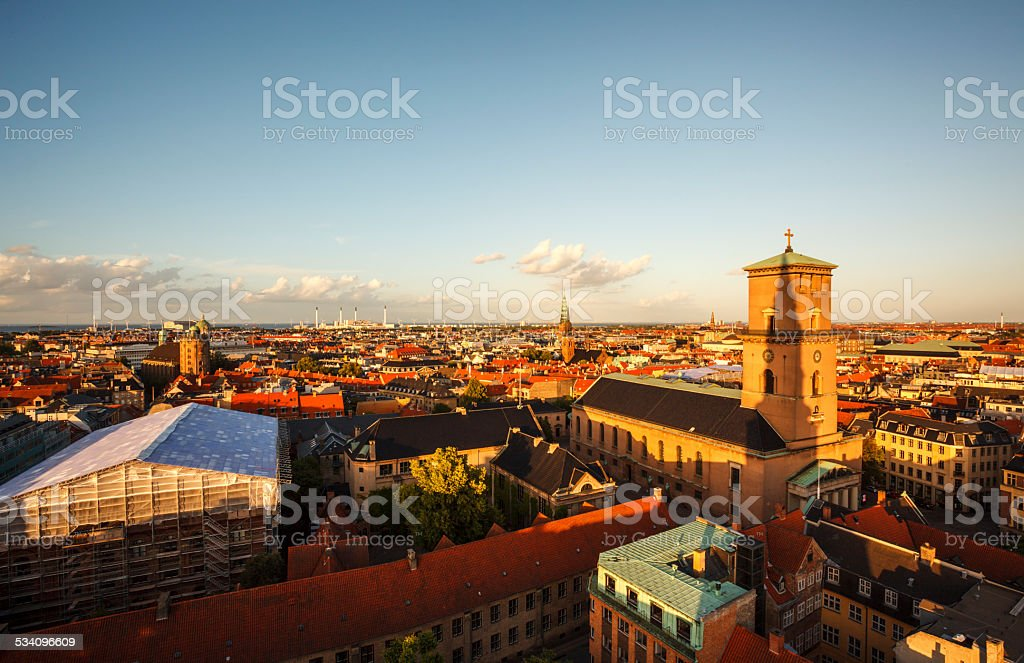 Church of Our Lady and Copenhagen skyline stock photo