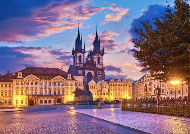Church of our Lady before tyn Prague Church of our lady before tyn on Old Town Square Prague Czech republic with red roof sunset sky. tyn church stock pictures, royalty-free photos & images