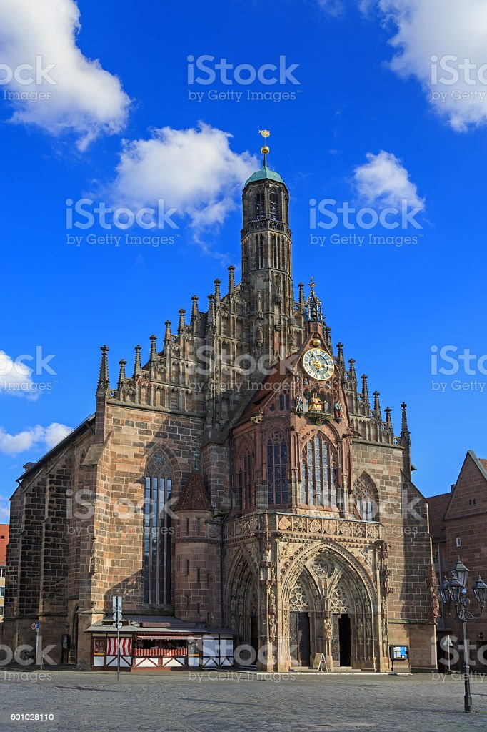 Church of Our Lady (Frauenkirche), blue sky with clouds stock photo