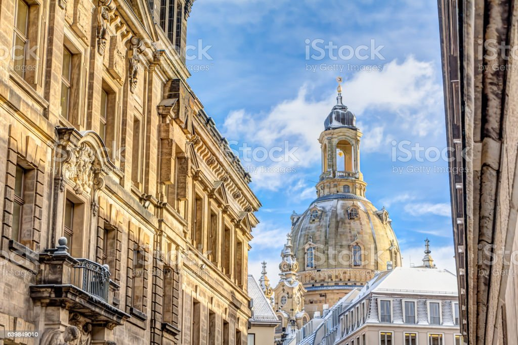 Church of our Lady in Dresden in winter stock photo