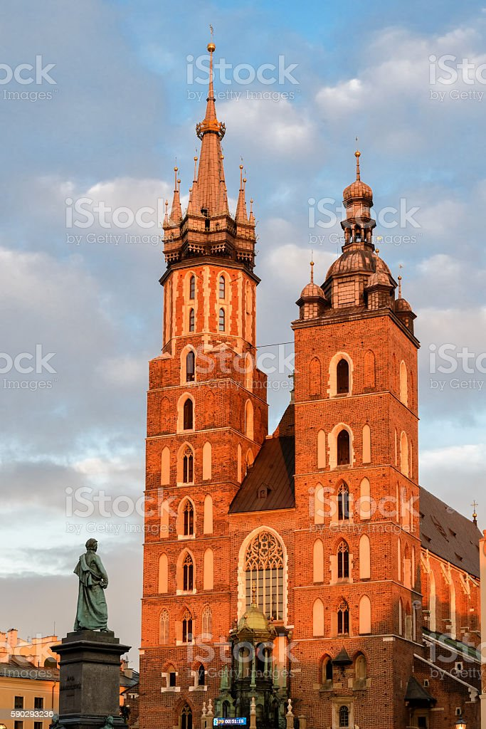 Church of our lady in Krakow royaltyfri bildbanksbilder