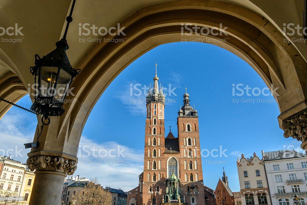 Church of our lady in Krakow royaltyfri bildbanksbilder