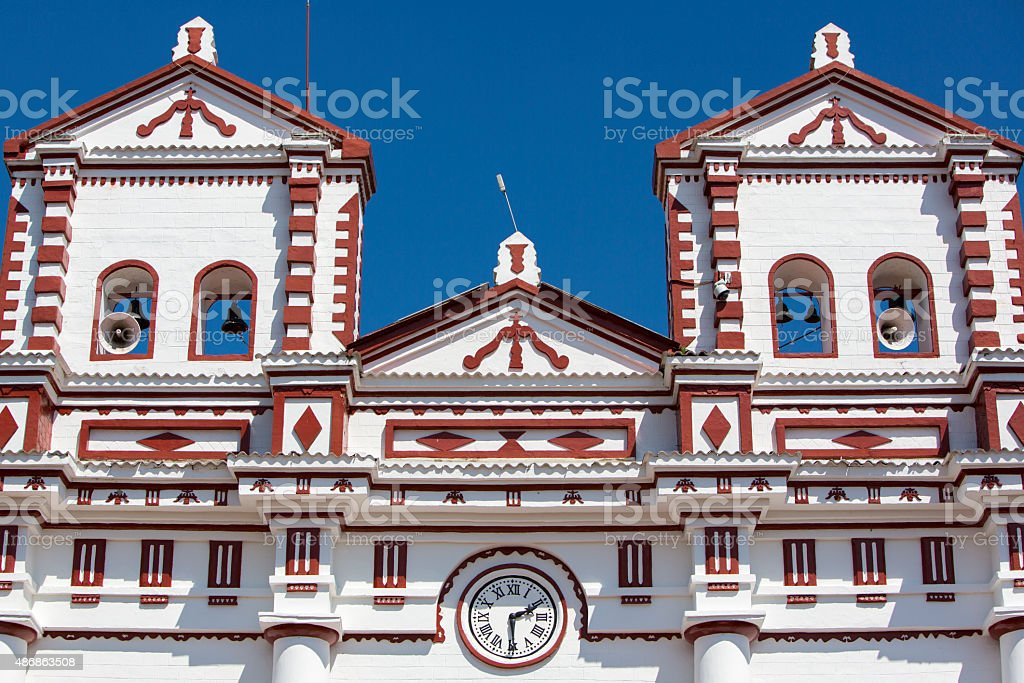 Church of Our Lady of Carmen, in city centre Guatape. stock photo