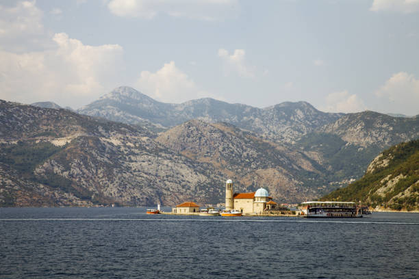 Church of Our Lady of the Rocks. Bay of Kotor, Montenegro. The island with a church on the Adriatic – zdjęcie