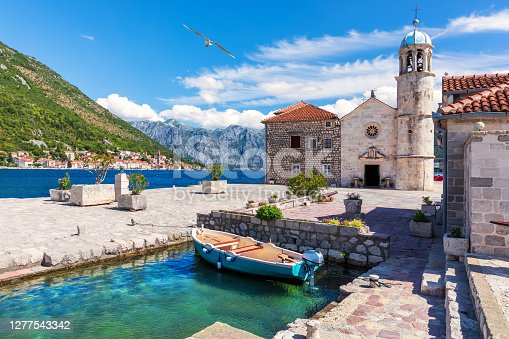 Church of Our Lady of the Rocks in the Bay of Kotor near Perast, Montenegro.