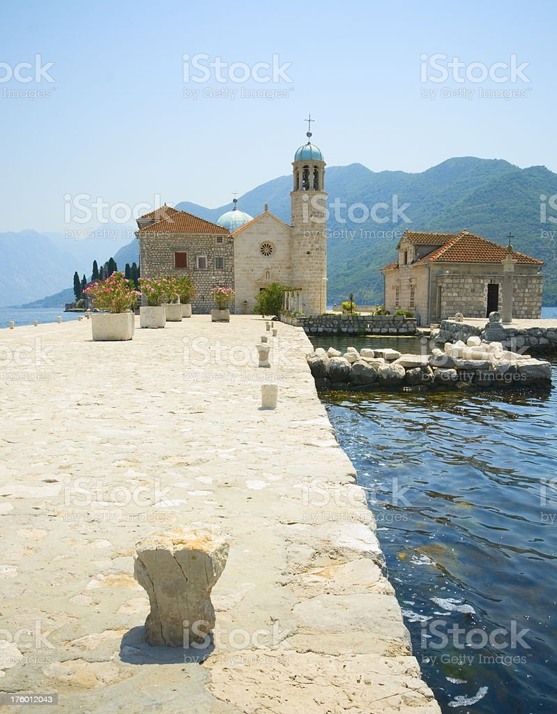 Church of Our Lady on the Rock, Montenegro stock photo