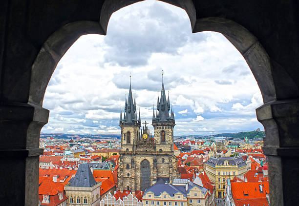 Church of our Lady Tyn Church in old town Prague Church of our Lady - Tyn Church in old town of Prague, Czech Republic. View from the tower of the astronomical clock tyn church stock pictures, royalty-free photos & images