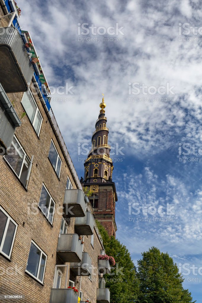 Church of our Savior with apartments stock photo